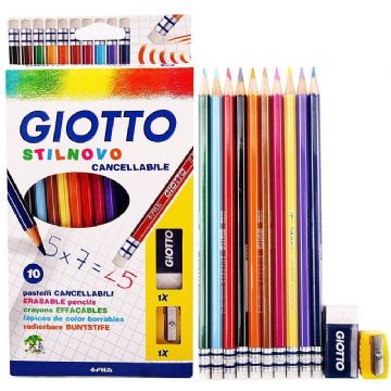GIOTTO STILNOVO ERASABLE COLOURING PENCILS HEXAGONAL + Free Sharpener + Eraser